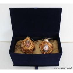 Moorish  heads Christmas decorations in a luxury velvet box