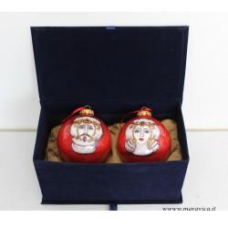 Palline di Natale in ceramica dipinte a mano decoro teste...