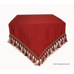Runner tavolo elegante tessuto damasco rosso a rombi con...