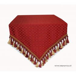 Elegant table runner in red damask fabric with diamond...