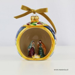 Hand painted ceramic Christmas ball with nativity