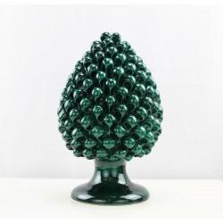 Sicilian ceramic green pine cone handmade in Caltagirone
