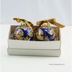 Set 2 Palline di Natale in ceramica decorata a mano blu e...
