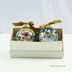 Set 2 Palline Natalizie in ceramica decorata a mano fiori...