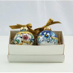 2 palline di Natale in ceramica decoro floreale scatolina...