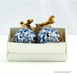 2 palline di Natale in ceramica decoro floreale azzurro...