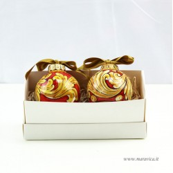 Set of 2 red and gold hand-decorated ceramic Christmas...