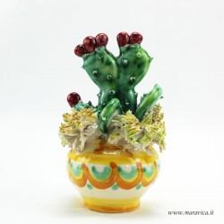 Prickly pear vase in Sicilian ceramic from Caltagirone...