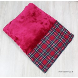 Burgundy red fleece plaid blanket with tartan fabric border