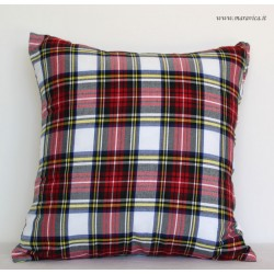 Country Chic Style White Tartan Cushion