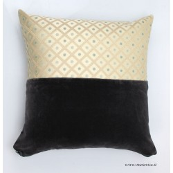 Furniture cushion in gray velvet and beige and gold...