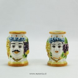 Sicilian Moor heads in ceramic toothpick holder