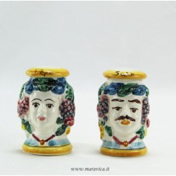 Sicilian Moor heads in salt and pepper ceramic