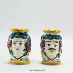 Teste moro siciliane in ceramica sale e pepe