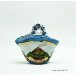 Small ceramic coffa with Etna mount decoration in a gift box
