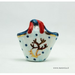 Small ceramic coffa with coral decoration in a gift box