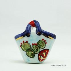 Coffa in ceramica piccola con decoro fichi d'india e...