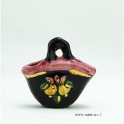 Coffa in ceramica nera piccola con decoro limoni...