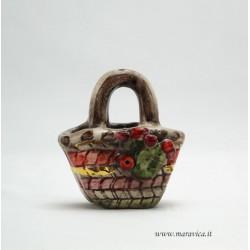 Coffa in ceramica intreccio piccola con decoro fichi...