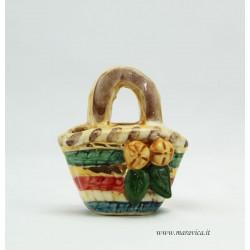 Coffa in ceramica intreccio piccola con decoro arance...
