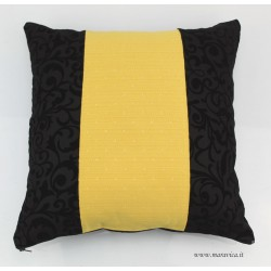 Decorative cushion in black jacquard velvet and gold damask