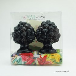 Sicilian black pine cones in ceramic h cm 6 gift box