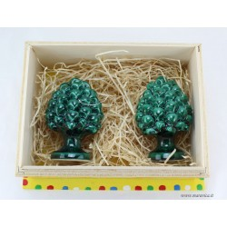 2 Sicilian pinecones blu and green in ceramic with wooden...
