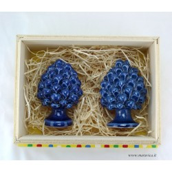Pigne siciliane blu in ceramica con scatola in legno