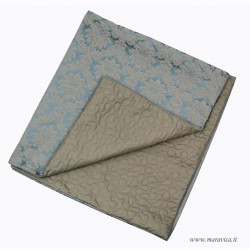 Elegant bed runner in light blue and dove gray damask