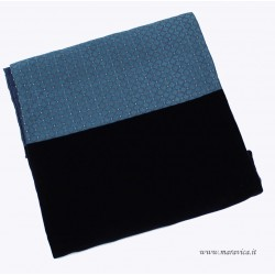 Elegant bed runner blue velvet and damask