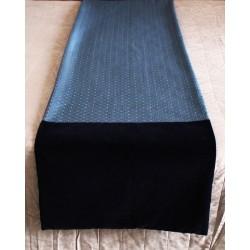 Runner da letto elegante in damasco a rombi e velluto blu...