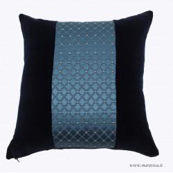 Cuscino lusso divano elegante damasco e velluto blu narvy