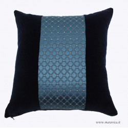 Elegant luxury throw pillow damask and velvet blu navy