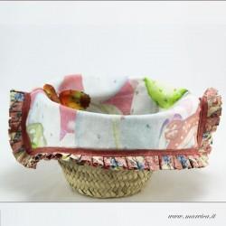 Sicilian mini coffa bread basket in prickly pear print...