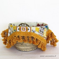 Bread basket with sicilian print cotton interior