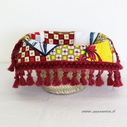 copy of Bread basket with sicilian print cotton interior