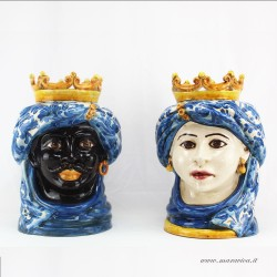 Sicilian Moor heads in Caltagirone ceramic hand painted...