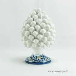 White pinecone in Caltagirone ceramic with decorated base