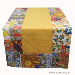 Runner tavolo siciliano in cotone giallo bordi stampa...