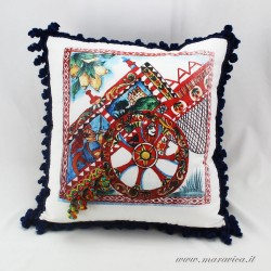 Sicilian cart throw pillow with trimmings