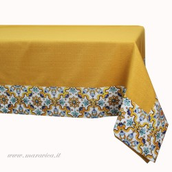 Yellow sicilian style tablecloth with majolica print edges
