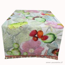 copy of Table runner in cotton-printed prickly pears...