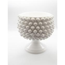 Pine cone White Vase Holder in Caltagirone ceramic with base