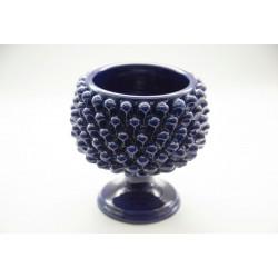 Blu Pine cone Vase Holder in Caltagirone ceramic with base