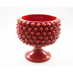 Red Pine cone Vase Holder in Caltagirone ceramic with base