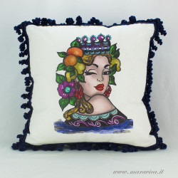 Decorative cushion moorish heads woman print with trimmings