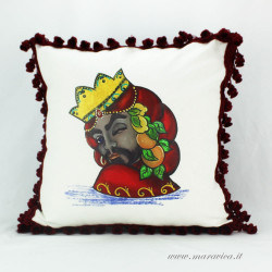 Decorative cushion moorish heads man print with trimmings