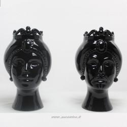 Teste di moro moderne in ceramica siciliana nere lucide