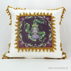 Decorative cushion with Trinacria print Sicily symbol...
