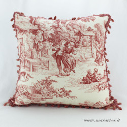 Country chic throw pillow cushion in toile de jouy fabric
